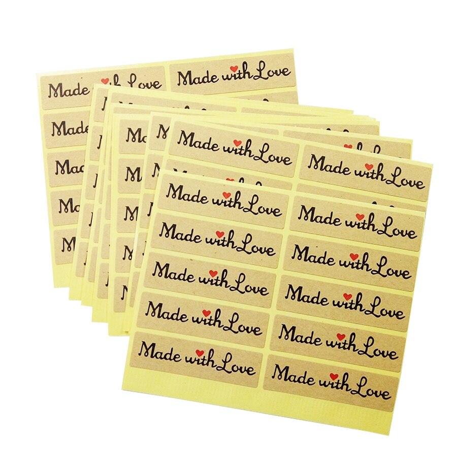 1000 unids/lote Vintage hecho con amor etiqueta papel Kraft adhesivo para DIY hecho a mano regalo pastel hornear tiendas suministros para fiesta de boda