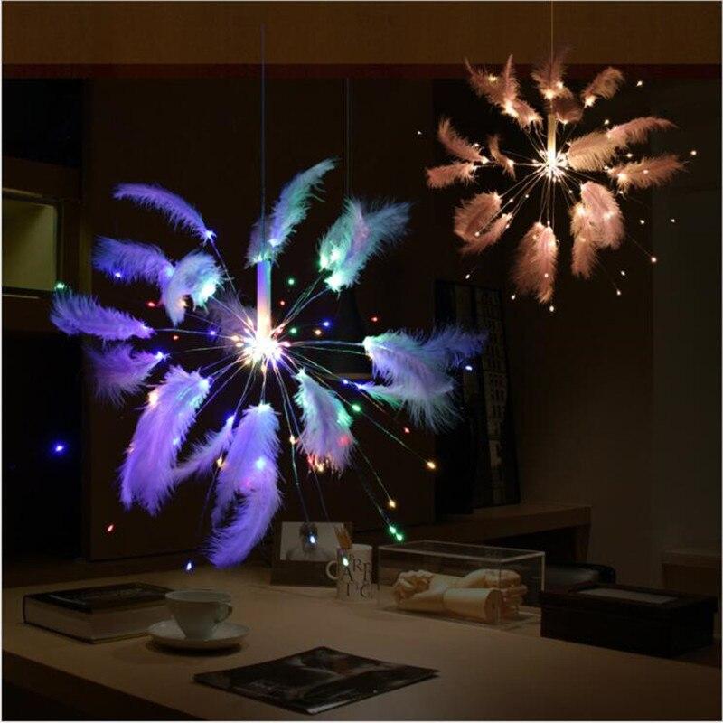 New Design USB Power Feather Fireworks Strip 100Led Holiday Light Colorfur Garland Romantic DIY Lighting For Xmas Wedding Decor