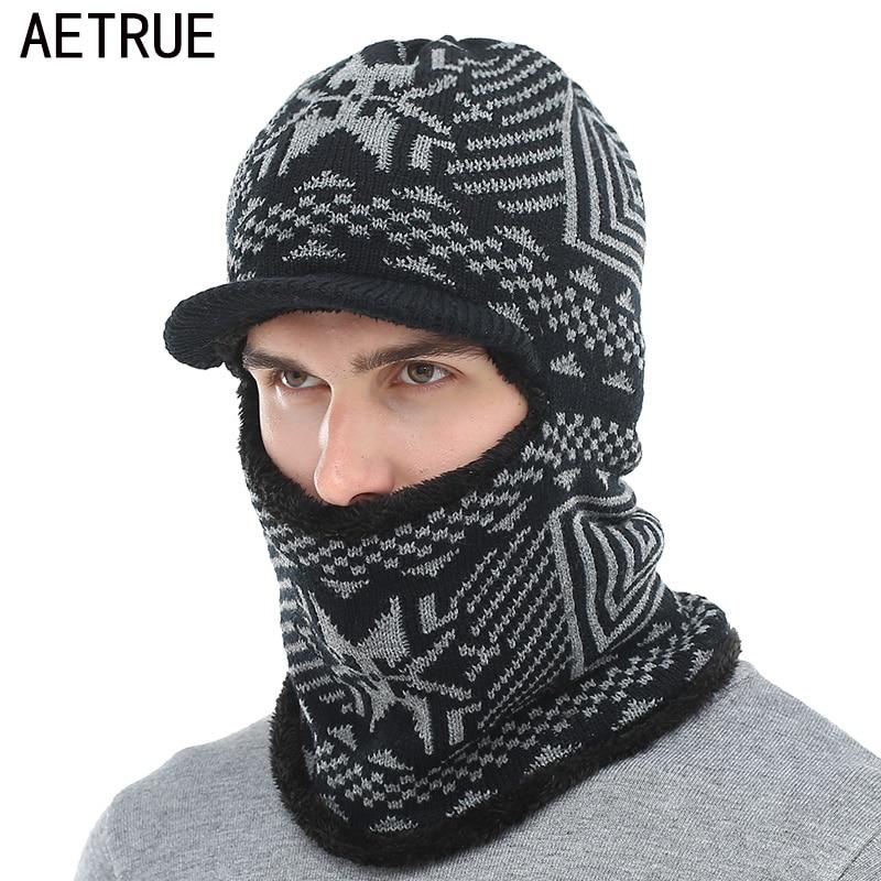 AETRUE Winter Hat Men Women Knitted Hat Scarf Skullies Beanies Winter Beanies For Men Caps Mask Balaclava Bonnet Cap Hats 2019