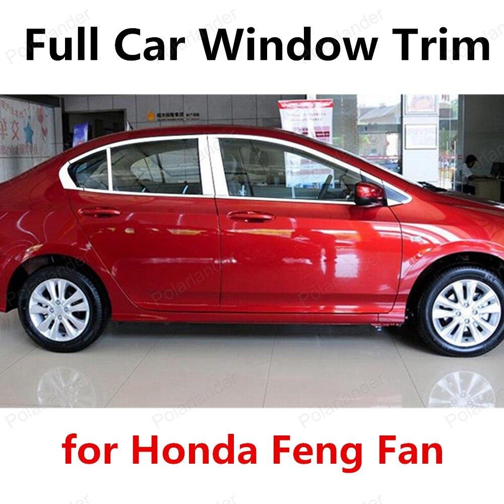 ¡Oferta! decoraciones de coche de acero inoxidable para Honda Feng Fan Marco de ventana completo cubierta embellecedora con Pilar Central