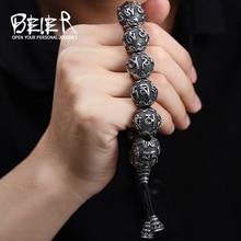 BEIER Mode Hommes de Haute Poli En Acier Inoxydable Bouddhisme Mantra Bracelet Apporter Chanceux Bijoux BC8-029