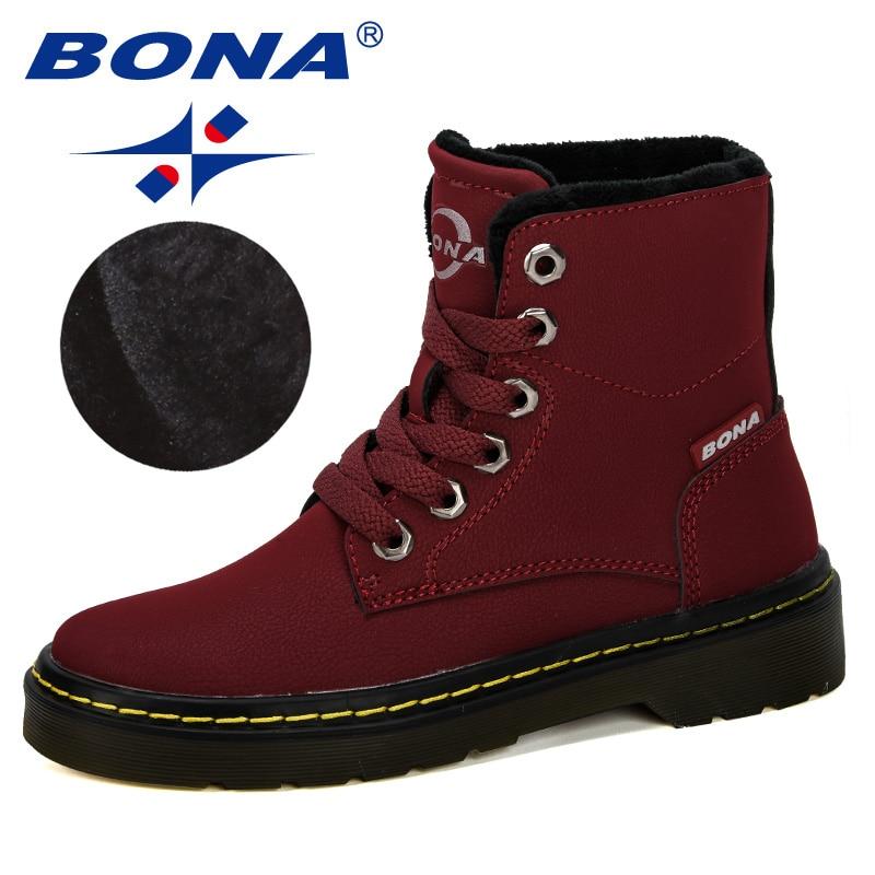 BONA 2019 New Designe Winter Boy Boots Children Shoes Leather Fashion Ankle Boots Student Sneakers Velvet Warm Kids Snown Boots