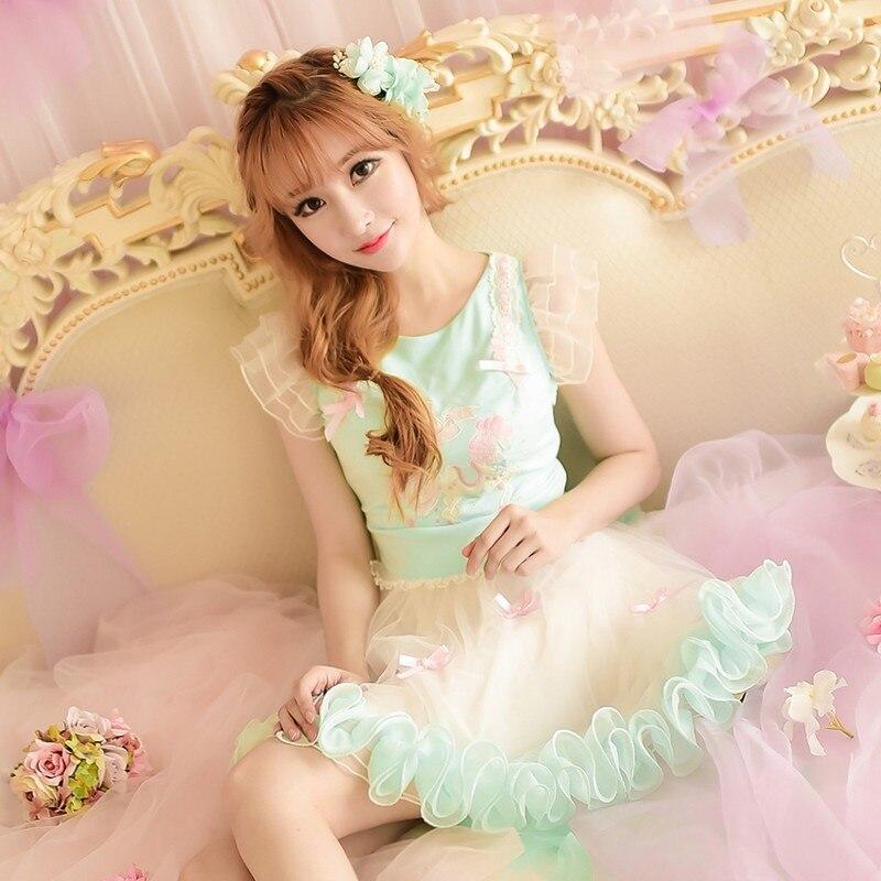 Princesse douce lolita robe bonbons pluie style japonais mignon troie patchwork Net fil robe de bal robe de princesse C15AB5831