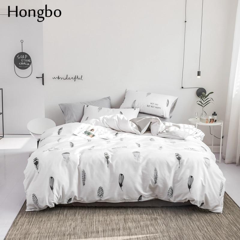 Hongbo Little Feather-طقم غطاء لحاف 100% قطن ، طقم أغطية سرير ، ملاءة وغطاء وسادة