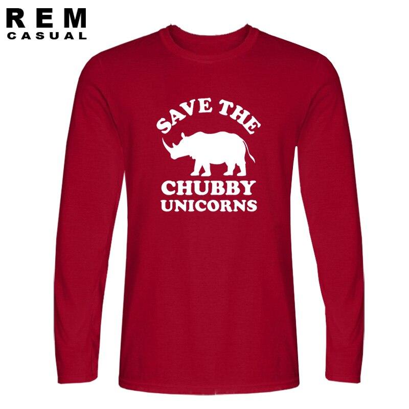 2016 fashion save chubby unicorns t-shirt cotton tops tees boy casual homme tshirt long sleeve t shirt plus
