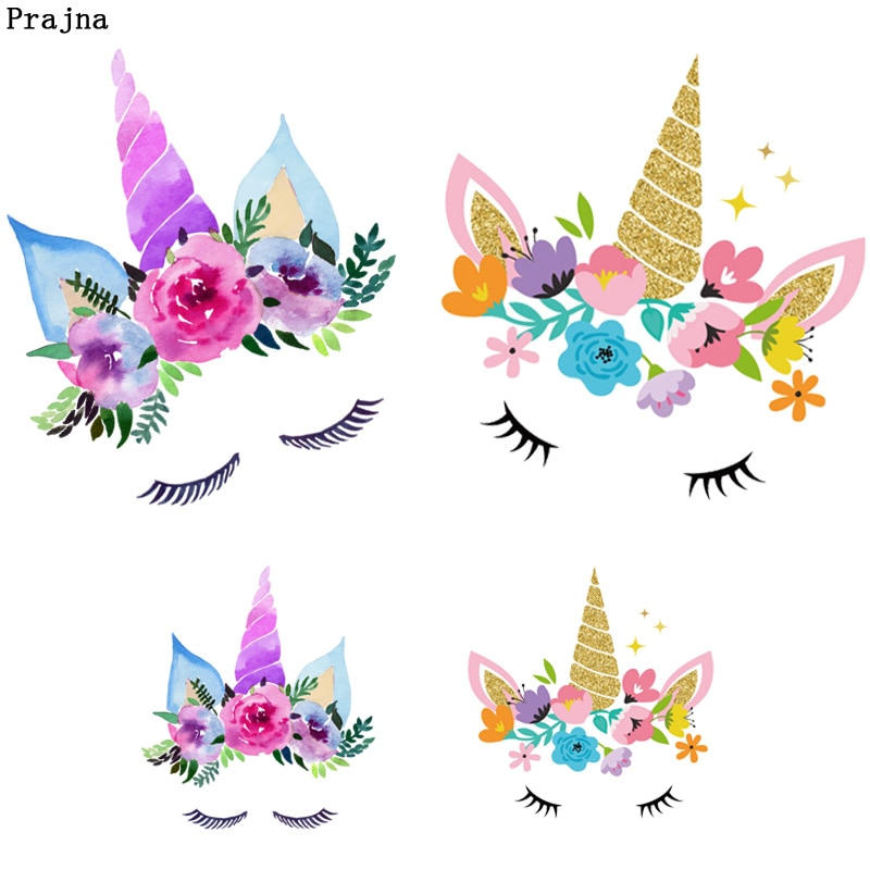 Parche Prajna de unicornio Prajna para planchado, parche para chica de dibujos animados para transferencia de calor, parches de vinilo para ropa, pegatina de tela lavable A nivel