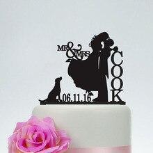 Gepersonaliseerde Wedding Cake Toppers Bruid En Bruidegom Silhouet Met Hond Laatste Naam En Datum Mr En Mrs Cake Toppers Bruiloft