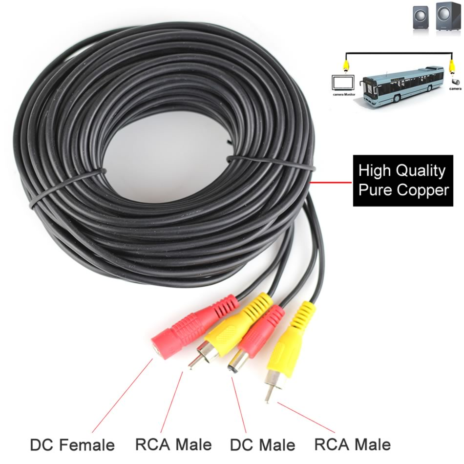 5 10 15 20 Meters DC Power RCA AV Video 12V 24V Extension Cable for Car Truck Bus Parking Home CCTV Camera enlarge