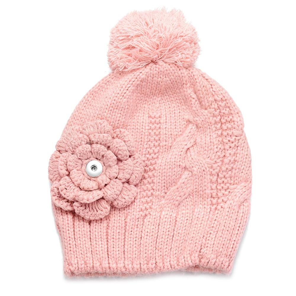 10 шт./лот 4 вида цветов зимняя вязаная шапка с защелкой подходит для 18 мм GingerSnaps Jewelry NN-700 * 10
