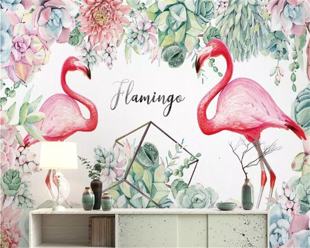 Papel pintado para habitación de niños beibehang nórdico minimalista suculento flamenco 3d foto papel pintado Fondo pared mural papel pintado 3d