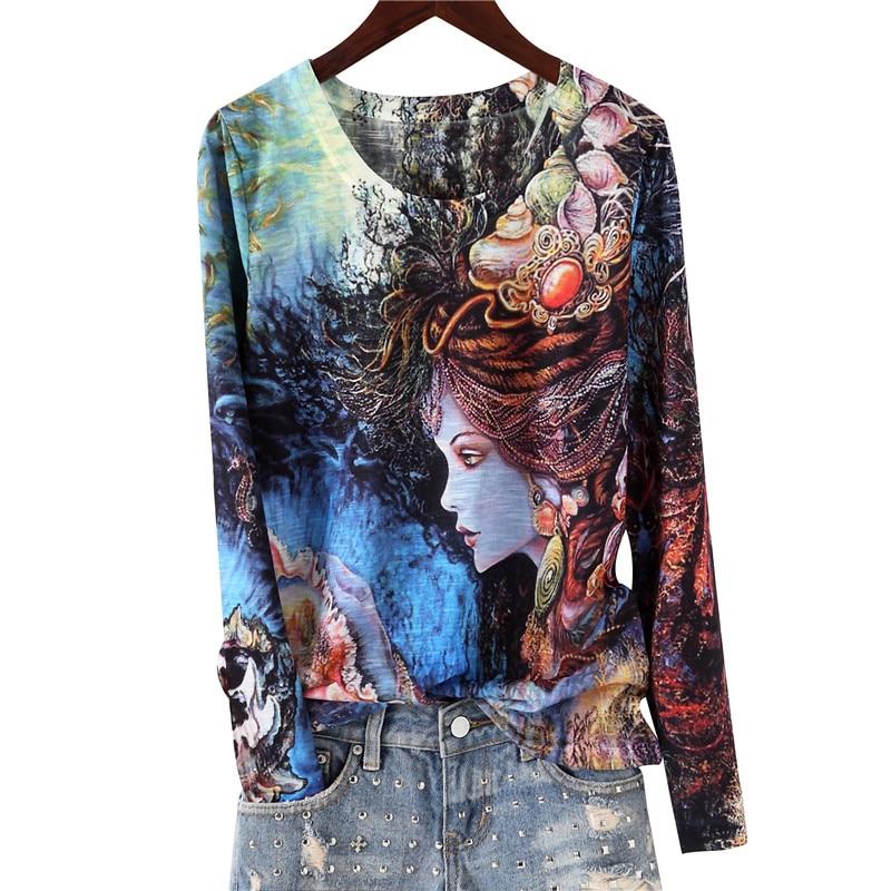 3D three-dimensional lady print t shirt women 2020 spring new arrival o-neck long sleeve cotton slim tops Plus size M-4XL