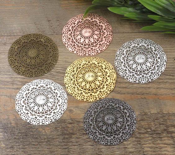 55mm Vintage Filigree Circle Flower Wraps Metal Links European Charms Bu Yao Hair Clasp Accessories DIY Findings Multi-Color