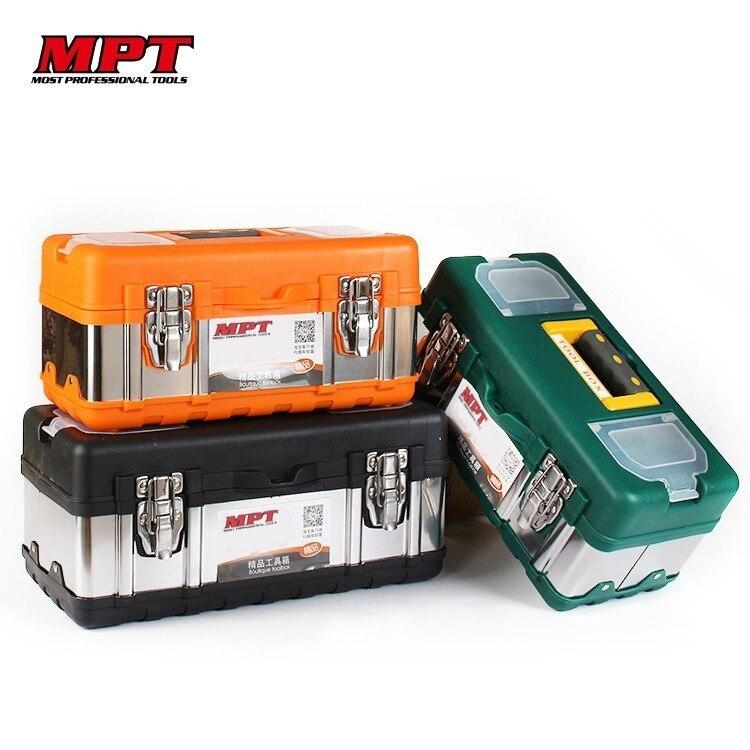 Caja de Herramientas portátil grande de acero inoxidable para el hogar, caja de herramientas para trabajadores, herramientas organizadoras, herramientas para reparación de automóviles y electricistas