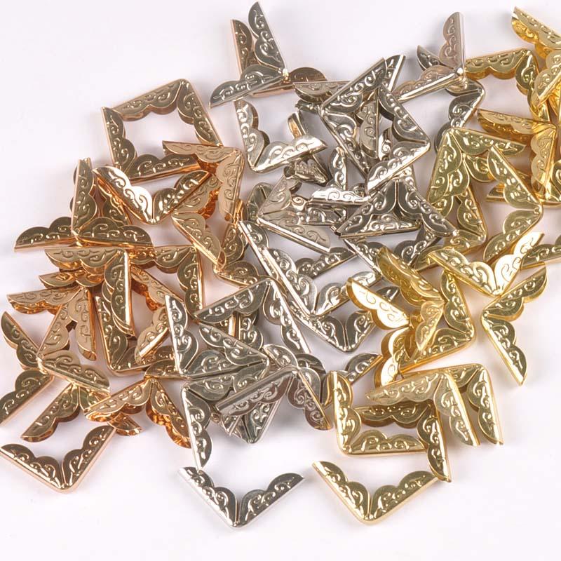 50 pçs ouro/tira/ouro rosa metal canto protetor para livros diy artesanato scrapbooking álbuns de fotos pastas menus canto c0333