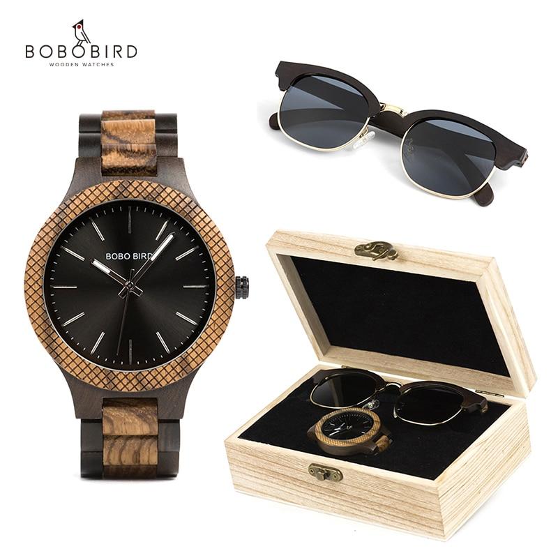 Óculos de Sol Relógios de Madeira Relógios de Quartzo Bobo Pássaro Relógio Masculino Conjunto Japão Movimento Ótimo Presente Reloj Hombre