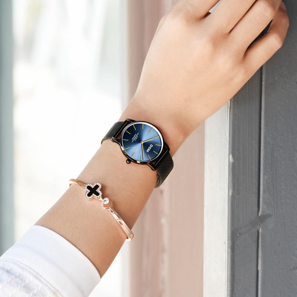 DOM Ladies Fashion Watches Top Brand Luxury Women Watch Waterproof Steel Quartz Wrist Watch Blue Dial for Women G-36BK-2MT enlarge