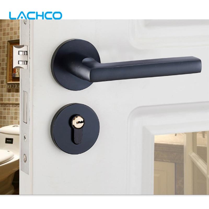 قفل باب من الألومنيوم ، أسود ، إغلاق يدوي ، مقابض أبواب ، أسطوانة أمان صامتة ، غرفة DL19051