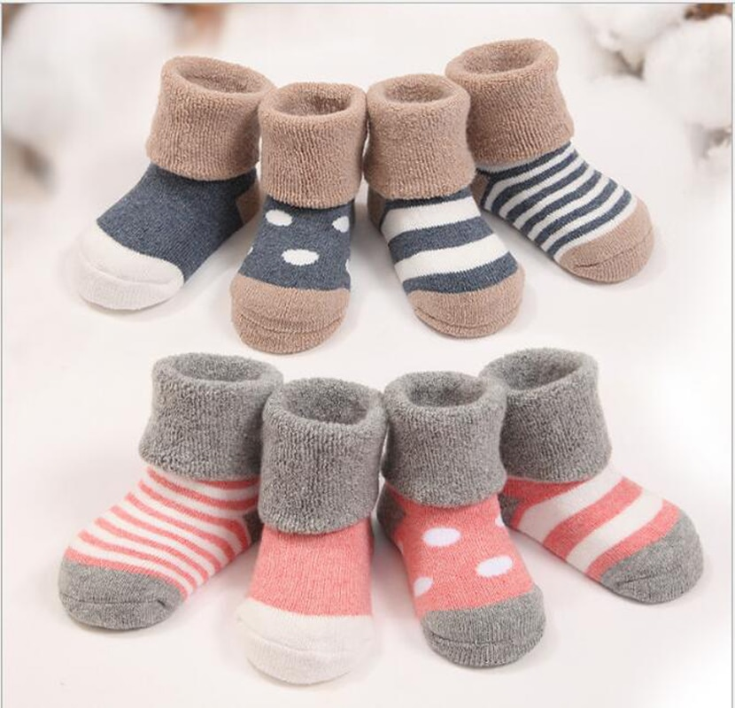 baby socks for winter 4 pairs/lot thick cotton warm newborn baby girl baby boy socks