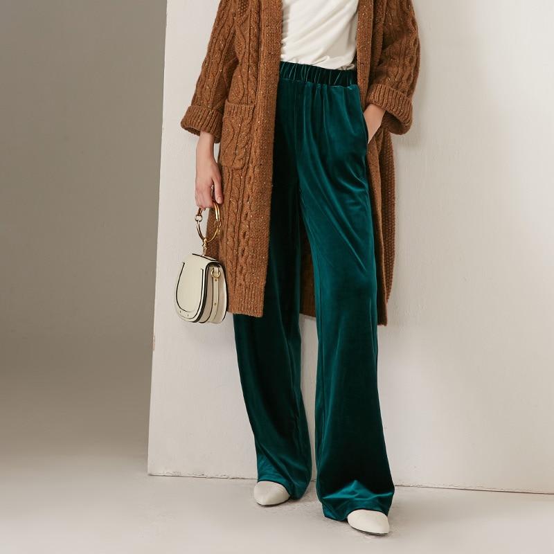 Новинка осени 2020, женские модные длинные велюровые брюки с эластичной резинкой на талии, бархатные брюки размера плюс M- 5XL 6XL, прямые свободн...