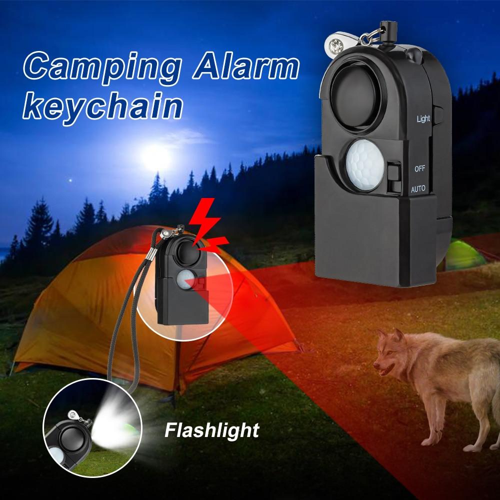 Détecteur de mouvement à infrarouge PIR   SOS Portable Mini, lampe de poche Anti-vol de sécurité 120dB Anti-vol pour voyage en Camping