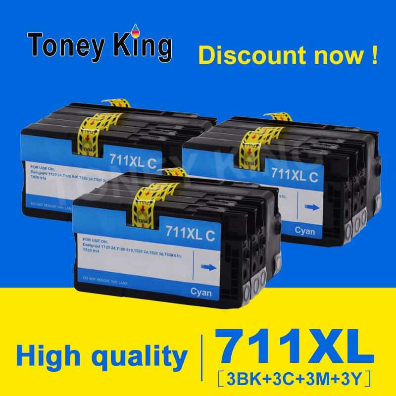 Toney King para cartucho de tinta de repuesto HP 711XL 711 XL Compatible con impresora HP711 DesignJet T120 T520 CZ133A CZ130Z CZ13A