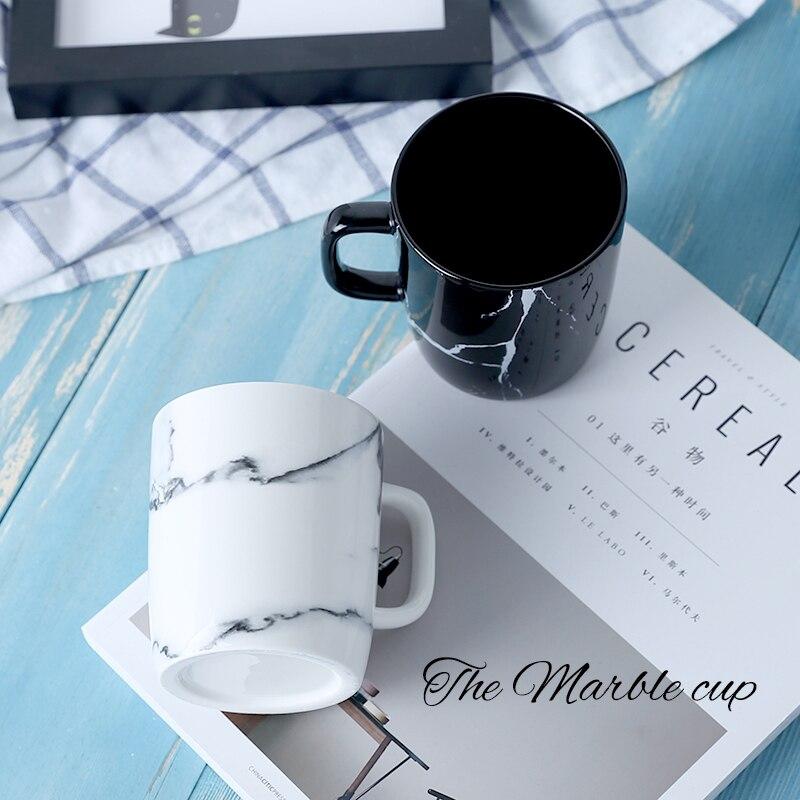 Taza de cerámica moderna con diseño decorativo de mármol de 12OZ y 350ML para el hogar, porcelana para oficina, café, té de la leche, taza para beber creativa