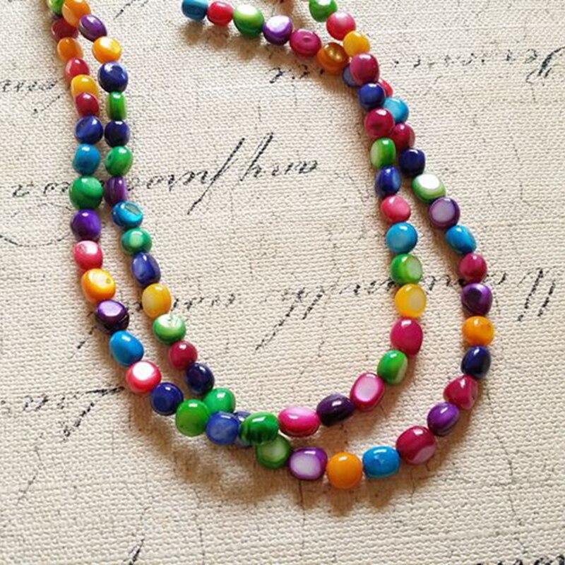7*8 MM 200 unids/pack Oval mezclar colores naturales de agua dulce Shell Loos de hilos perlas de joyería