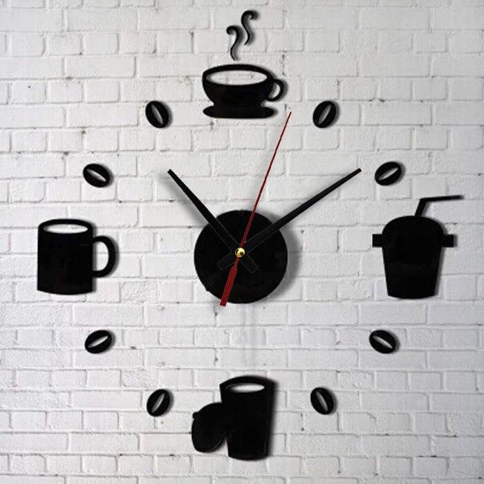 Etiqueta de pared negra reloj acrílico autoadhesivo Interior impermeable DIY salón niños habitación decoración pegatinas F280