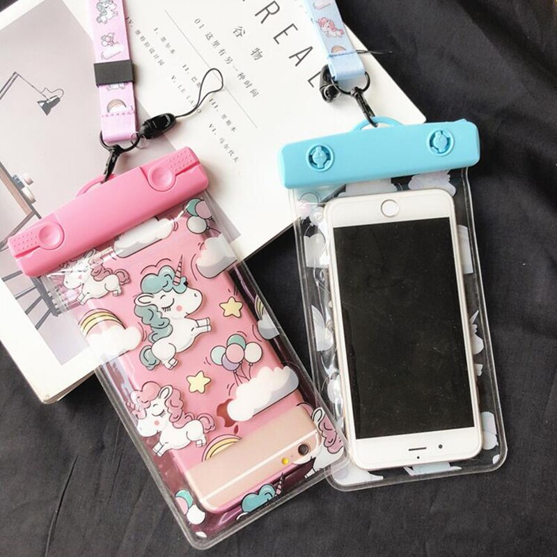 Милый водонепроницаемый чехол с единорогом для iPhone X XS MAX 8 7 6 s 5 Plus, чехол, сумка, чехлы для телефона, водонепроницаемый чехол для телефона