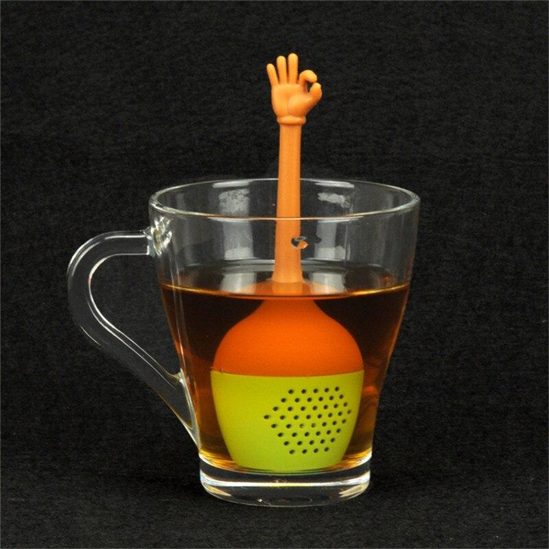 Hot Sell Funny Hand Gestures Tea Infuser Black Tea Strainer FDA Grade Silicone Loose Leaf Herbal Spice Holder Tea Brewing Tools