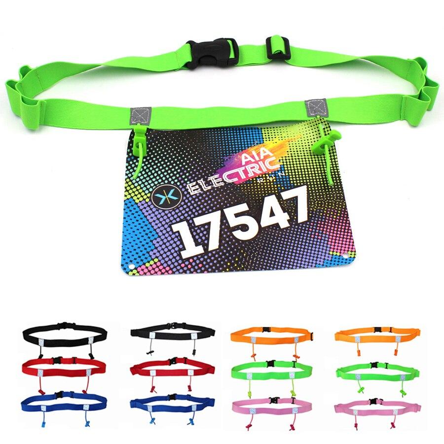 Hommes femmes Triathlon Marathon course numéro ceinture course à la taille Pack tissu dossard sac de course avec 6 boucles de Gel Startnummernband