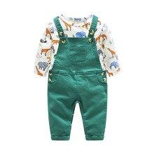 Coton nouveau-né bébé garçons barboteuse ensemble de vêtements dessin animé infantile Animal body + vert bavoir pantalon tenue enfants mignon robe barboteuses