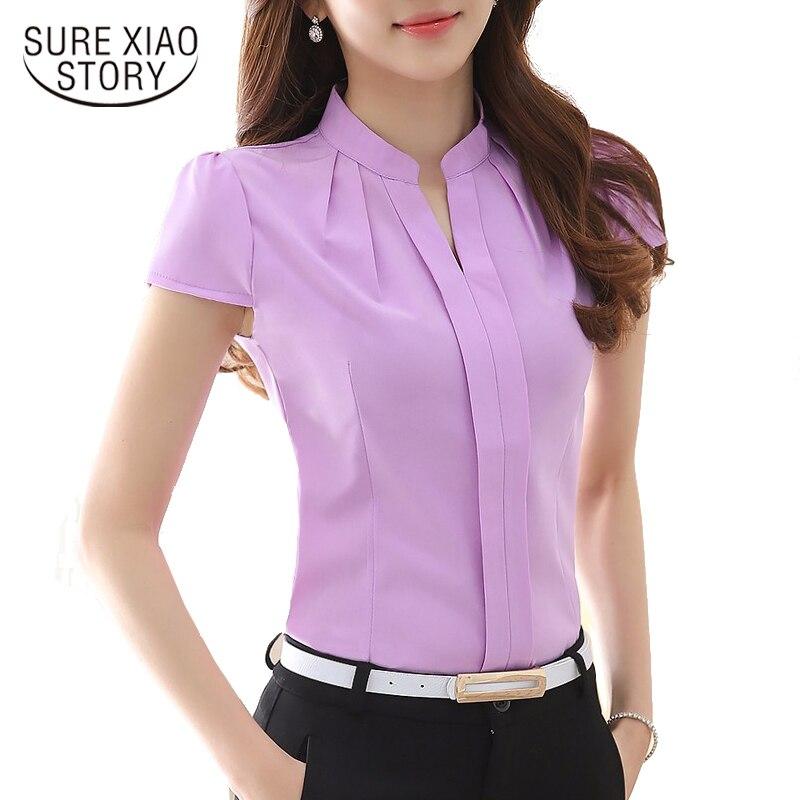 2017  Women Blouses Elegant Slim Chiffon Blouses Fashion Short Sleeved Casual Women Shirts Plus Size Women Tops 861B