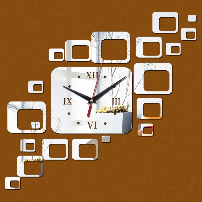 top sale diy wall stickers clock home decoration quartz living room acrylic mirror Europe furniture  3d clocks