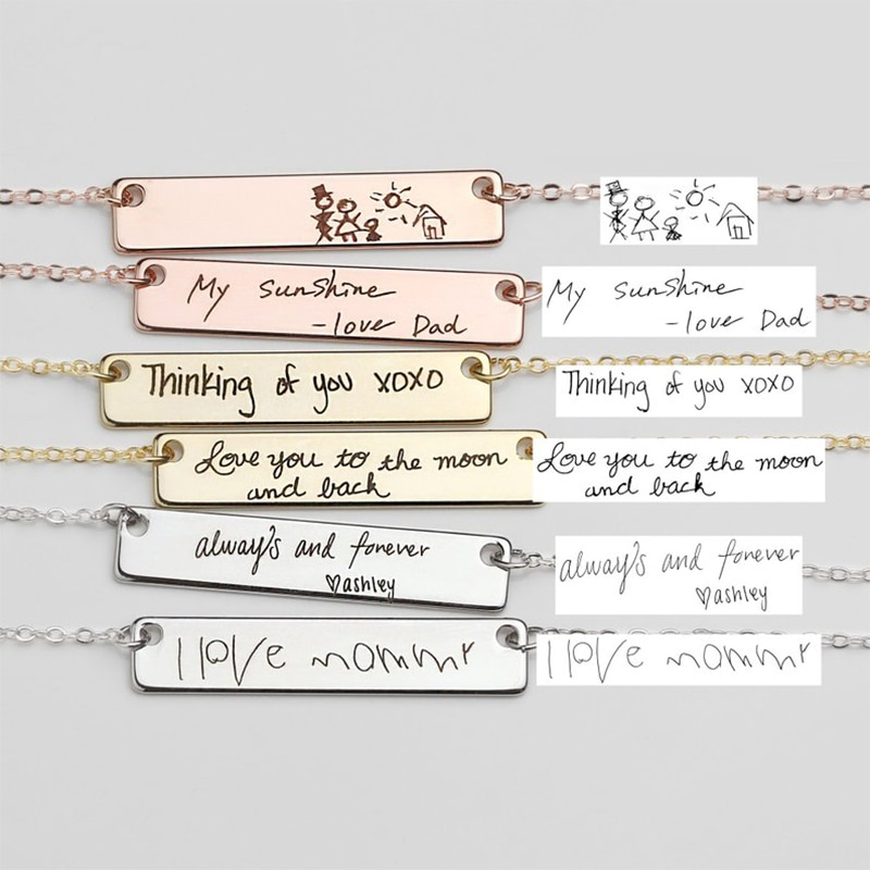 Personalized  customization Name Bracelet For Women Signature Gold Stainless steel Rose gold engraving Bracelet&Bangle Jewelry недорого