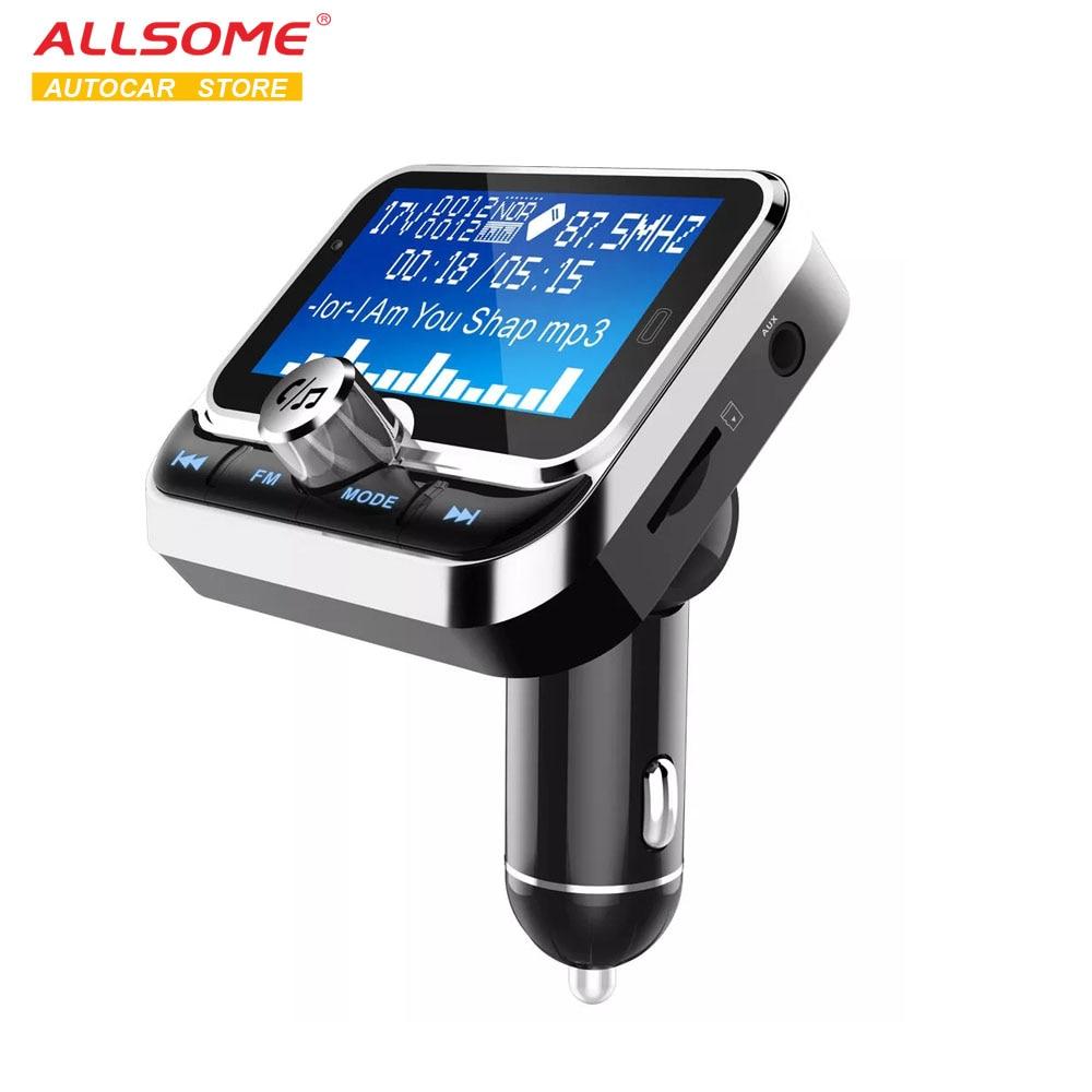 ALLSOME, reproductor MP3 de coche, transmisor FM, modulador, compatible con 7 idiomas, reducción inteligente de ruido, Bluetooth 4,1, Kit de coche