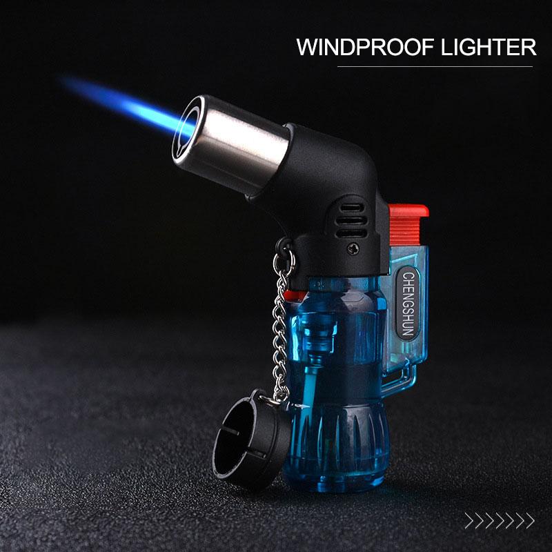 Encendedor portátil de butano a prueba de viento de Color plástico aleatorio ignición del fuego quemador sin GAS