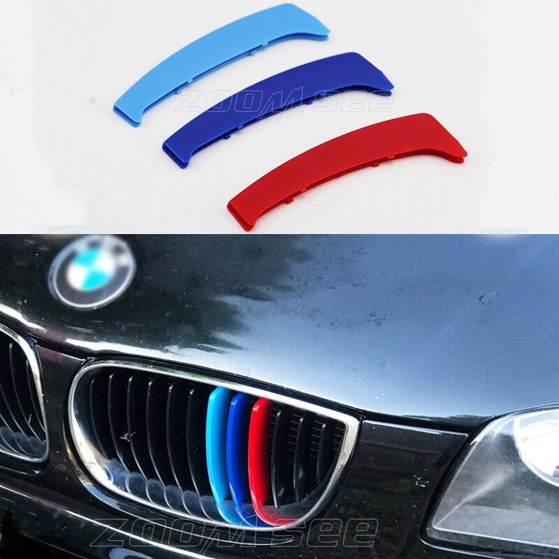 3D M Estilo Esporte Grade Dianteira grill Cobrir Guarnição Tiras Adesivos Para 2003-2011 BMW série 1 E87 E81 e82 E88 116i 118i 120i 130i