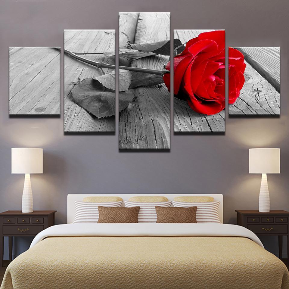 5 шт., красная роза, цветочный рисунок, холст, набор, принт, цветы, гостиная, картины, спальня, настенная живопись, холст, Прямая поставка