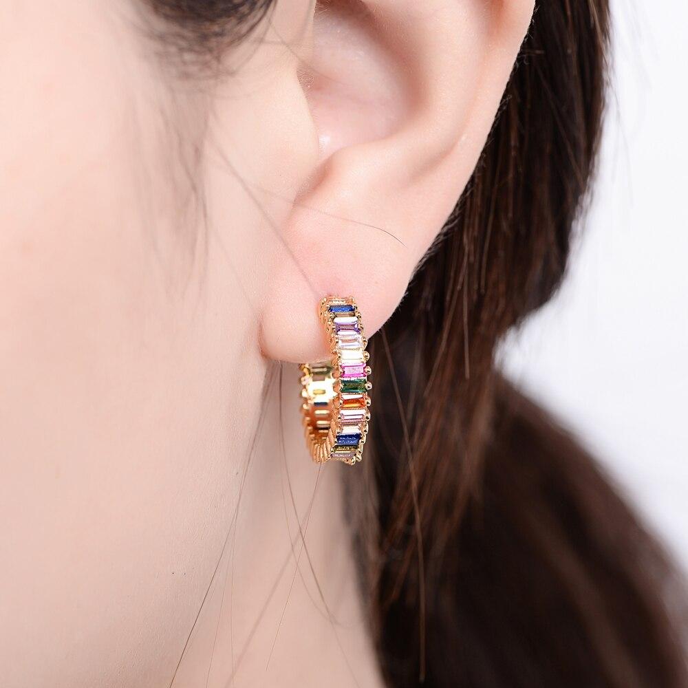 Women's Initial Colorful Cubic Zirconia Stud Earrings heart Flower Lightning charms Jewelry 2019 Earrings for Women girl's gift