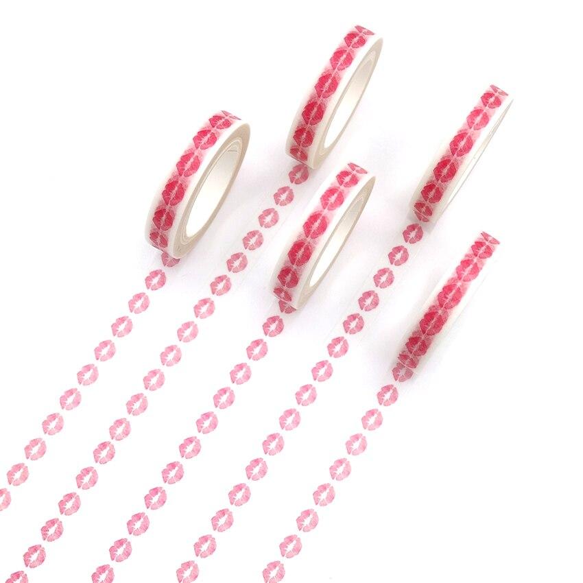 1 Uds. Cinta Washi Creative de labios rojos para decoración de diario Diy, cinta adhesiva Kawaii para papelería, cinta adhesiva para álbum de recortes
