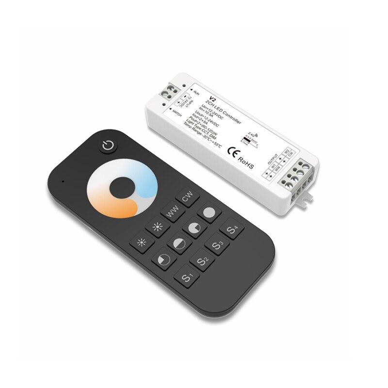 SKYDANCE New Led Strip Color Temperature Controller 12V 2.4G RF Remote 5A*2CH 10A max DC12V-24V Led Strip CT Controller V2+RT2
