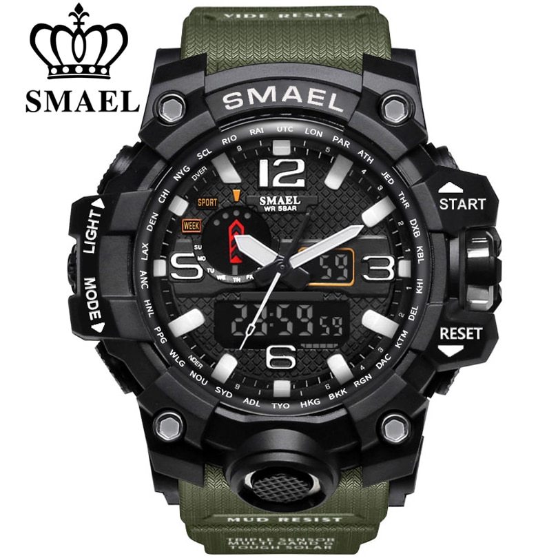 SMAEL Brand Men Sports Watches Dual Display Analog Digital LED Electronic Quartz Wristwatches Waterp