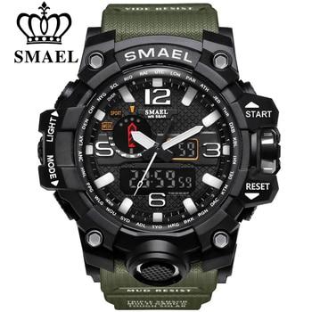 SMAEL – montres de sport pour hommes, double affichage analogique numérique LED, à Quartz, étanche, pour natation et militaire