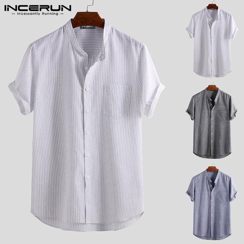 Camiseta a rayas de verano para hombre de INCERUN, Camiseta de algodón transpirable 2020 de manga corta con cuello levantado Estilo Vintage, camisas playeras Harajuku para hombre Chemise
