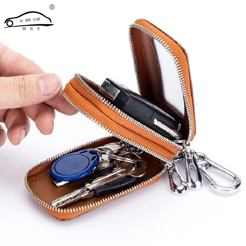 O SHI voiture en cuir véritable voiture porte-clés étui Double ayer/métal crochet fermeture éclair voiture clé sac translucide