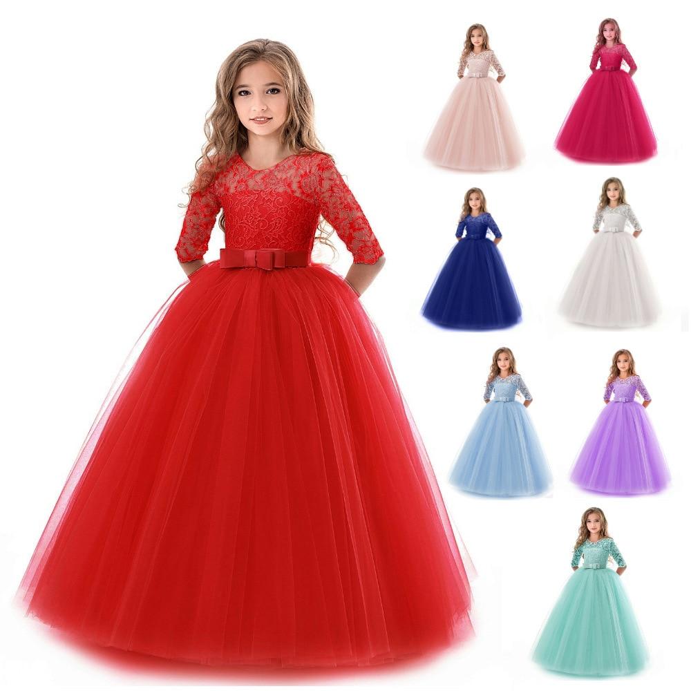 Girls Lace Half Sleeve Dress Elegant Kid Girls 3-15Yrs Dresses Tulle Lace Wedding Evening Princess Costume Children Clothing