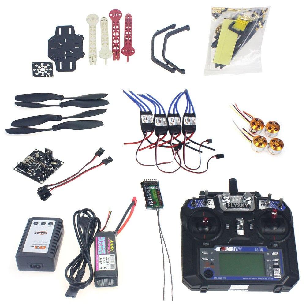 Kit completo rc drone quadrocopter 4-axle aircraft kit f330 multicopter quadro kk xcopter v2.9 controle de vôo flysky FS-i6