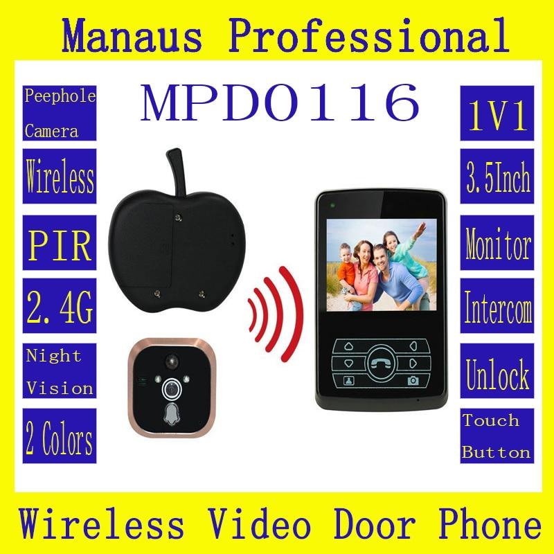 Smart Home 3.5 '' Screen Touch Video Intercom Phone,Remote Unlock 2.4GHz Video Digital Wireless Front Door Peephole Camera D116b