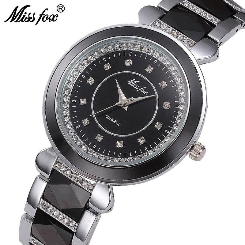 MISSFOX Senhorita Fox Moda Quartz Watch Mulheres Senhoras de Cerâmica Branca Relógios Top Marca de Luxo Relógio De Pulso Feminino Saat Bayan
